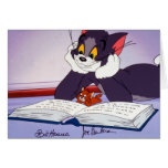 Tom And Jerry Reading Book Autographed Greeting Card