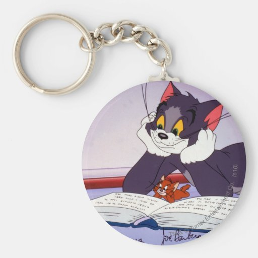 Tom And Jerry Reading Book Autographed Basic Round Button Keychain