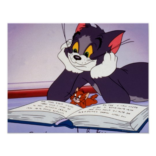 Tom And Jerry Reading Book Autographed Poster