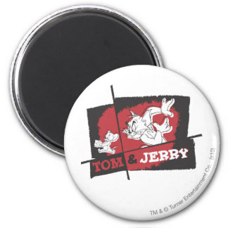 Tom and Jerry Red and Black 2 Inch Round Magnet