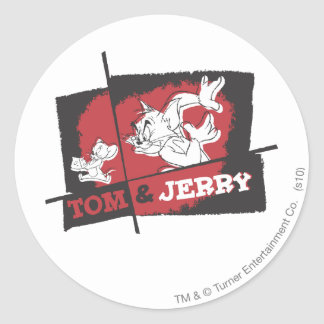 Tom and Jerry Red and Black Classic Round Sticker