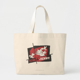 Tom and Jerry Red and Black Large Tote Bag