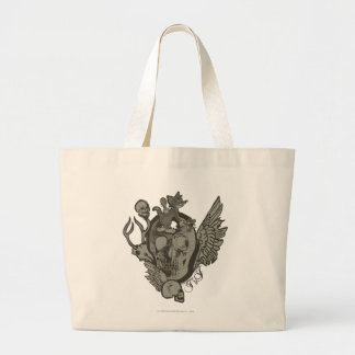 Tom and Jerry Skull Large Tote Bag