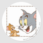 Tom and Jerry Stamp Classic Round Sticker