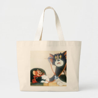 Tom And Jerry Stethescope Large Tote Bag