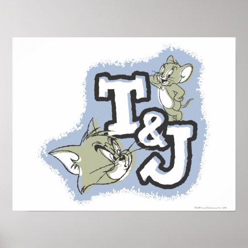 Tom and Jerry T&J Logo Print