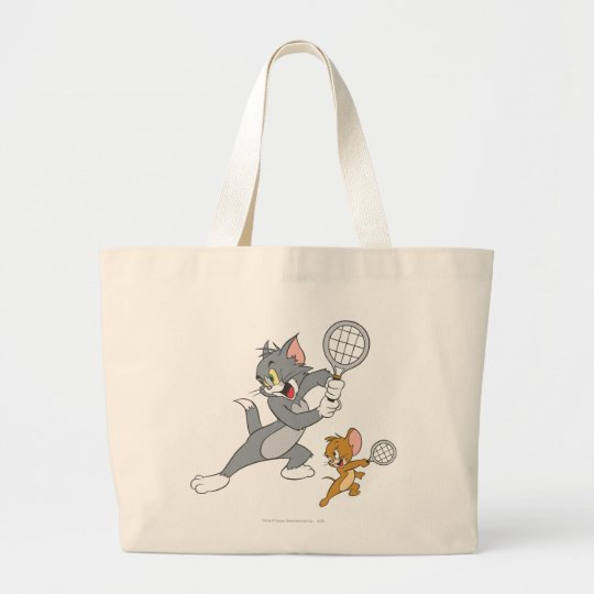 Tom and Jerry Tennis Stars 1 Large Tote Bag