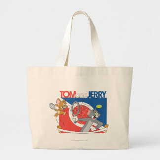 Tom and Jerry Tennis Stars 4 Large Tote Bag