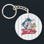 "Tom And Jerry | Tom And Jerry On Baseball Diamond Keychain<br><div class=""desc"">Tom And Jerry in a cute distressed design in front of a baseball diamond with sporty font.</div>"