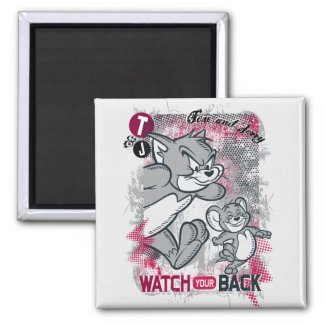 Tom and Jerry Watch Your Back 2 Inch Square Magnet