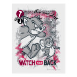 Tom and Jerry Watch Your Back Postcard