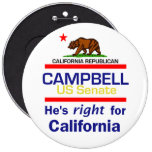 """Tom CAMPBELL 2010 6"""" botón Pins"""
