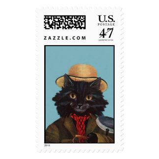 Tom el arte antropomorfo del vintage del gato sello postal