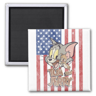 Tom & Jerry With US Flag 2 Inch Square Magnet