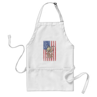 Tom & Jerry With US Flag Adult Apron