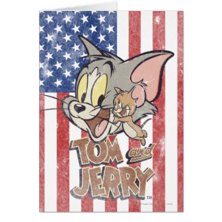 Tom & Jerry With US Flag Card