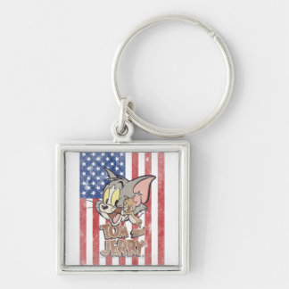 Tom & Jerry With US Flag Key Chains
