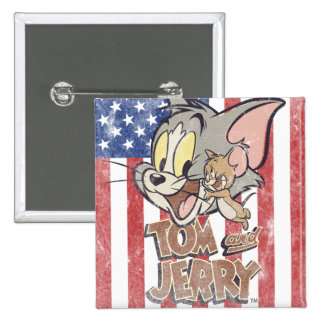 Tom & Jerry With US Flag Pinback Button