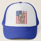Tom & Jerry With US Flag Trucker Hat