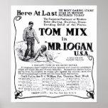 Tom Mix 1918 vintage movie ad poster