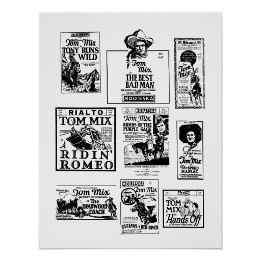 Tom Mix Silent Movies vintage advertisements Poster