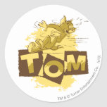 Tom que desliza la parada pegatina redonda