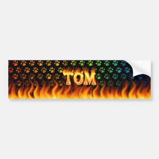Tom real fire and flames bumper sticker design