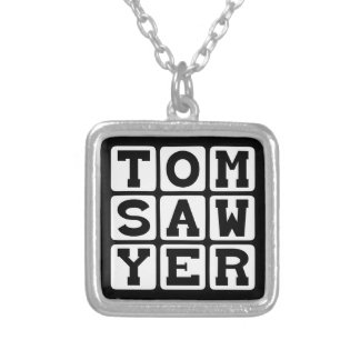 Tom Sawyer Book By Mark Twain Silver Plated Necklace
