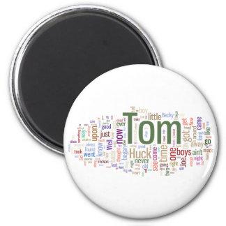 Tom Sawyer Word Cloud 2 Inch Round Magnet