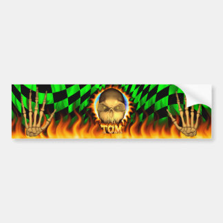 Tom skull real fire and flames bumper sticker desi
