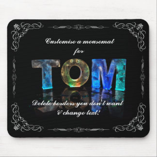 Tom  - The Name Tom in 3D Lights (Photograph) Mouse Pad