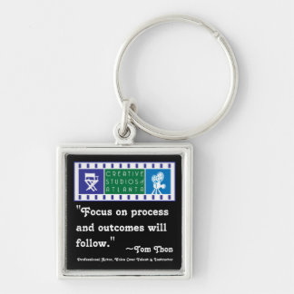 """Tom Thon, """"Focus on process and outcomes will foll Silver-Colored Square Keychain"""
