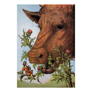 """""""Tom Thumb and the Cow"""" Illustration Poster"""
