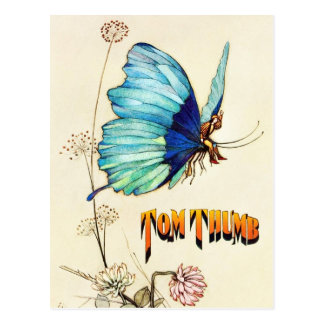 Tom Thumb Hitches a Ride on a Butterfly Postcard