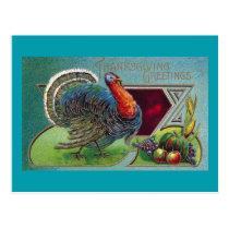 Tom Turkey, Grapes and Corn Vintage Thanksgiving Postcard