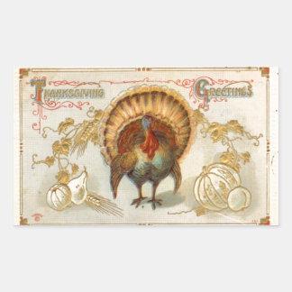 Tom Turkey Thanksgiving Greetings Vintage Sticker