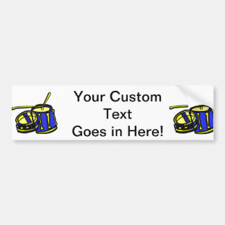 Tom Upside Down Snare Graphic BLue Yellow Car Bumper Sticker