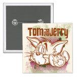 Tom y Jerry Brown y verde Pin Cuadrado