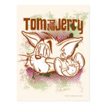 Tom y Jerry Brown y verde Postal