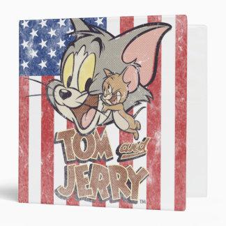 """Tom y Jerry con la bandera de los E.E.U.U. Carpeta 1 1/2"""""""