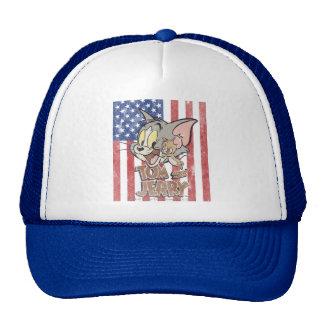 Tom y Jerry con la bandera de los E E U U Gorras De Camionero