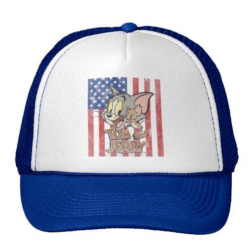 Tom y Jerry con la bandera de los E.E.U.U. Gorras De Camionero