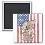 Tom y Jerry con la bandera de los E.E.U.U. Imán Cuadrado
