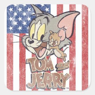 Tom y Jerry con la bandera de los E.E.U.U. Pegatina Cuadrada