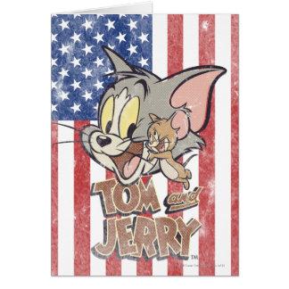 Tom y Jerry con la bandera de los E E U U Felicitación