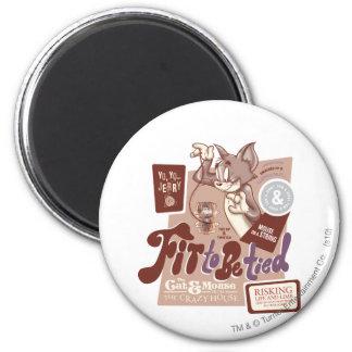 Tom y Jerry cupo para ser atado Imán Redondo 5 Cm