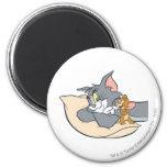 Tom y Jerry en la almohada Imán Redondo 5 Cm