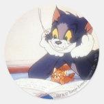 Tom y Jerry leyó un libro Pegatina Redonda