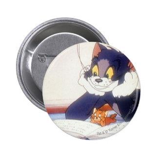 Tom y Jerry leyó un libro Pin Redondo De 2 Pulgadas