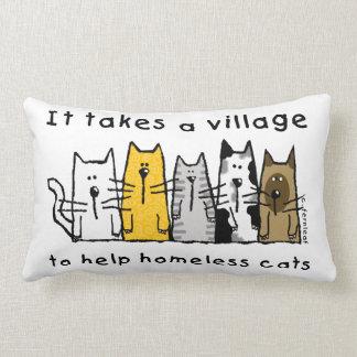 Toma a ayuda del pueblo gatos sin hogar almohada